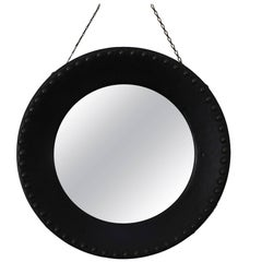 Midcentury Round Wall Convex Mirror in the Manner of Jacques Adnet, France 1950