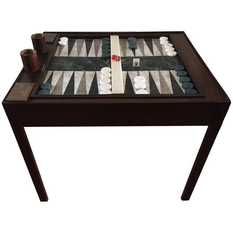Custom-Made Chippendale Style Mahogany Marble Backgammon Table, 20th Century