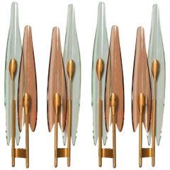 Rare Set of Four Dahlia by Max Ingrand for Fontana Arte