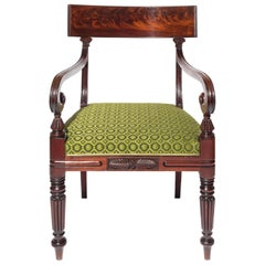 Carved Mahogany Desk Chair English Early 19th Century Regency Period, circa 1820