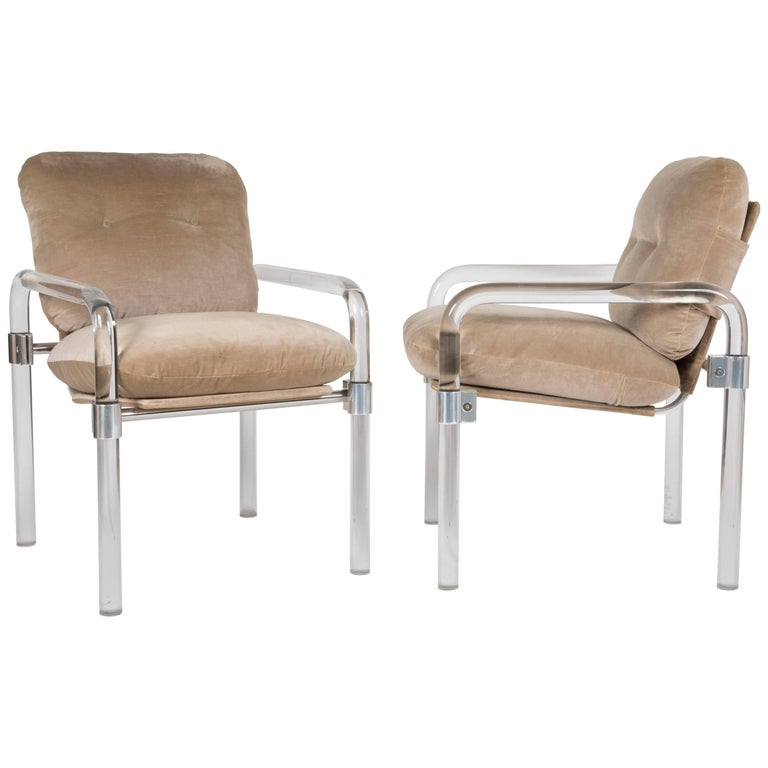 """Pair of Lucite and Brass """"Pipeline Series II"""" Armchairs by Jeff Messerschmidt"""