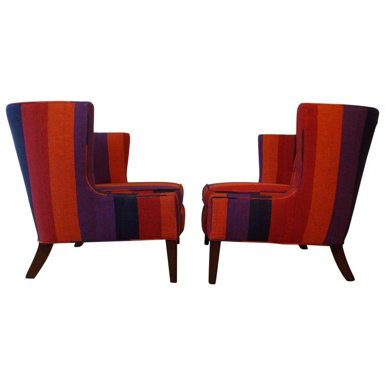 Midcentury Modern Pair of Slipper Chairs with Alexander Girard Fabric