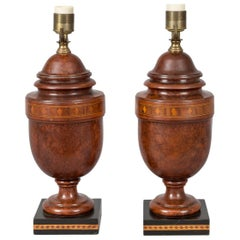 Pair of English Inlaid Walnut Lamps
