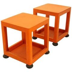 Orange Square Bed Side Table, 1960s