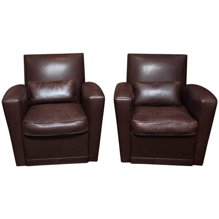 Holly Hunt Brown Leather Swivel Chairs For Sale At 1stdibs