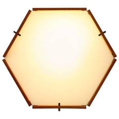 Hexagonal Teak and Perspex Ceiling Lamp, Applique, 1950s