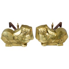Pair of Art Deco Brass Pekinese Dog Andirons