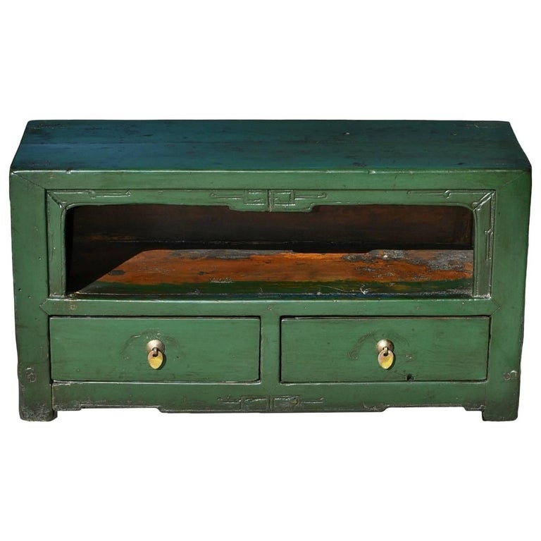 Small Antique Green Chinese Altar Table - Chinese Antique Altar Table, Small Altar With Open Feature For Sale