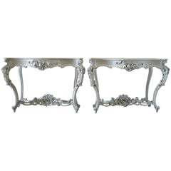 19th Century Painted French Console Tables with Marble Top