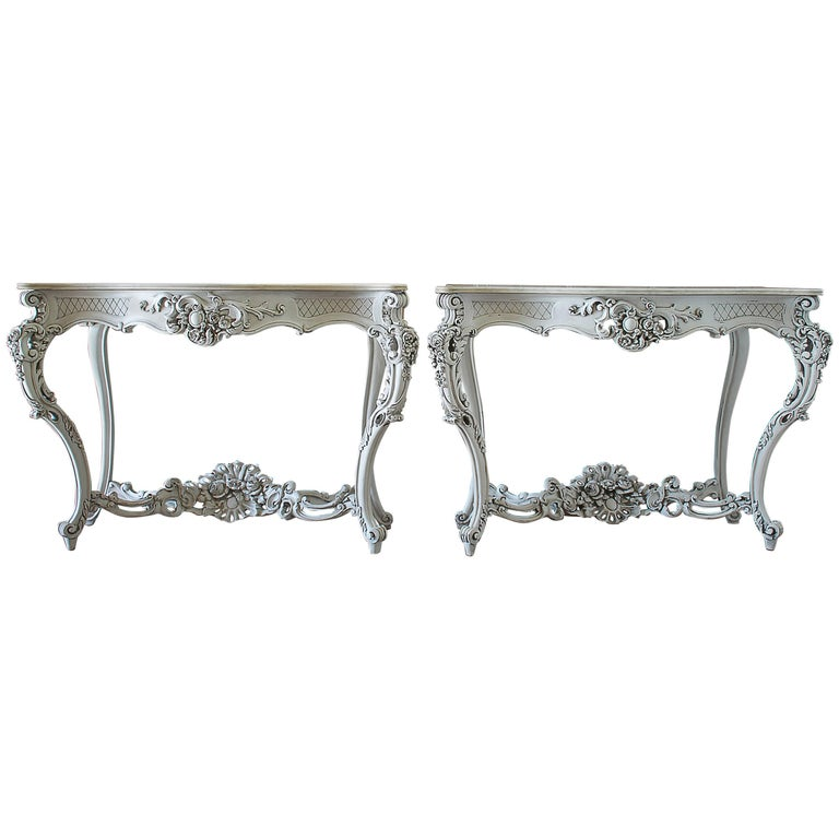 19th Century Painted French Console Tables With Marble Top For