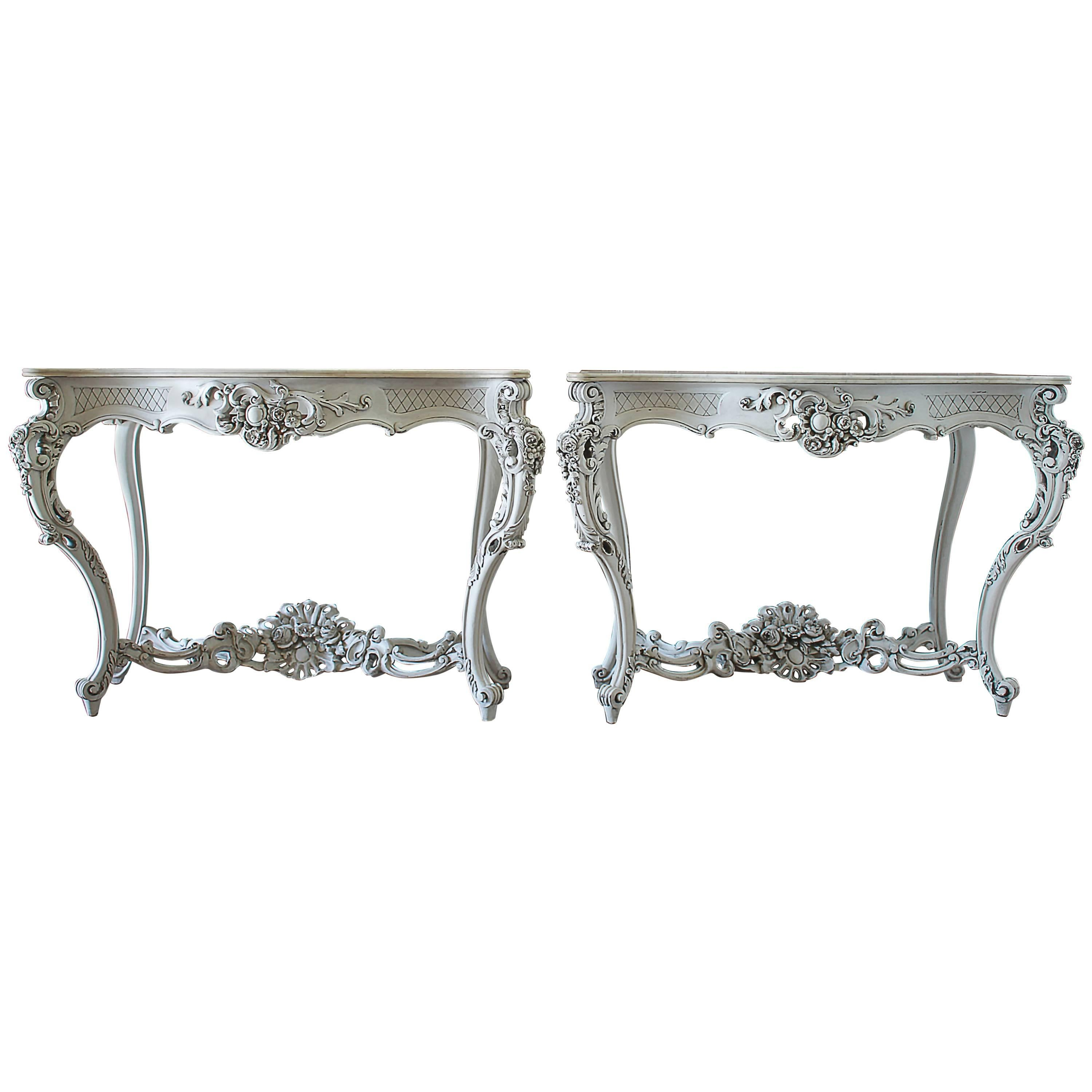 19th Century Painted French Console Tables With Marble Top For Sale