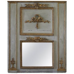 Early 19th Century Original Painted and Gilt Carved Trumeau Mirror