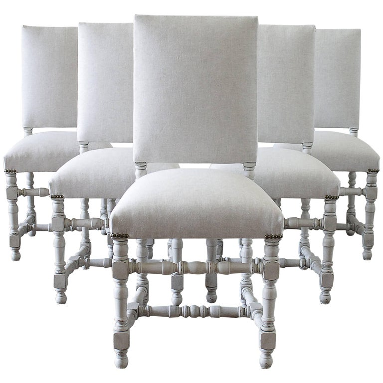 Set Of Six French Style Painted And Upholstered Dining Chairs For