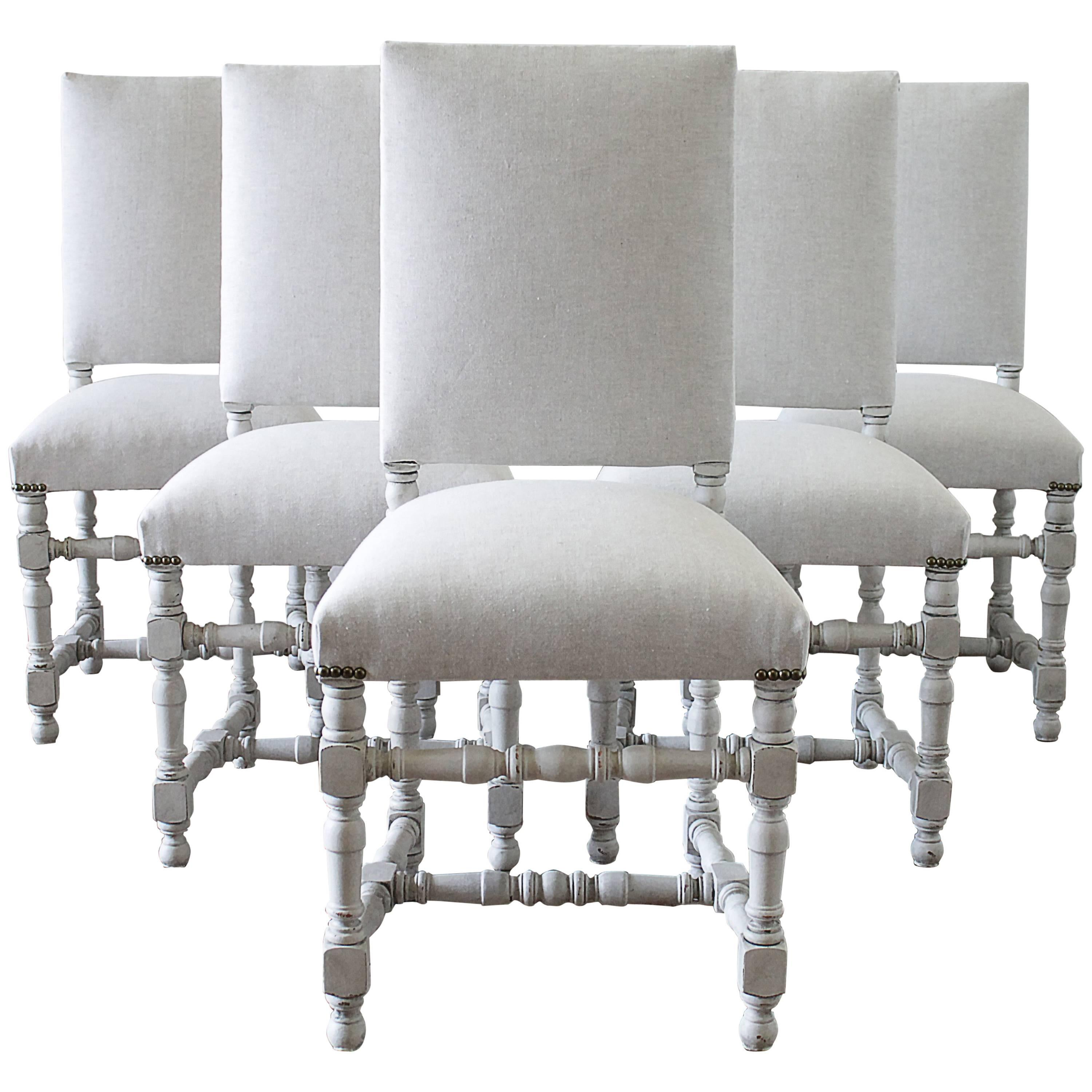 Set Of Six French Style Painted And Upholstered Dining Chairs For Sale