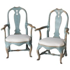 Pair of Swedish Rococo Period Armchairs, circa 1770