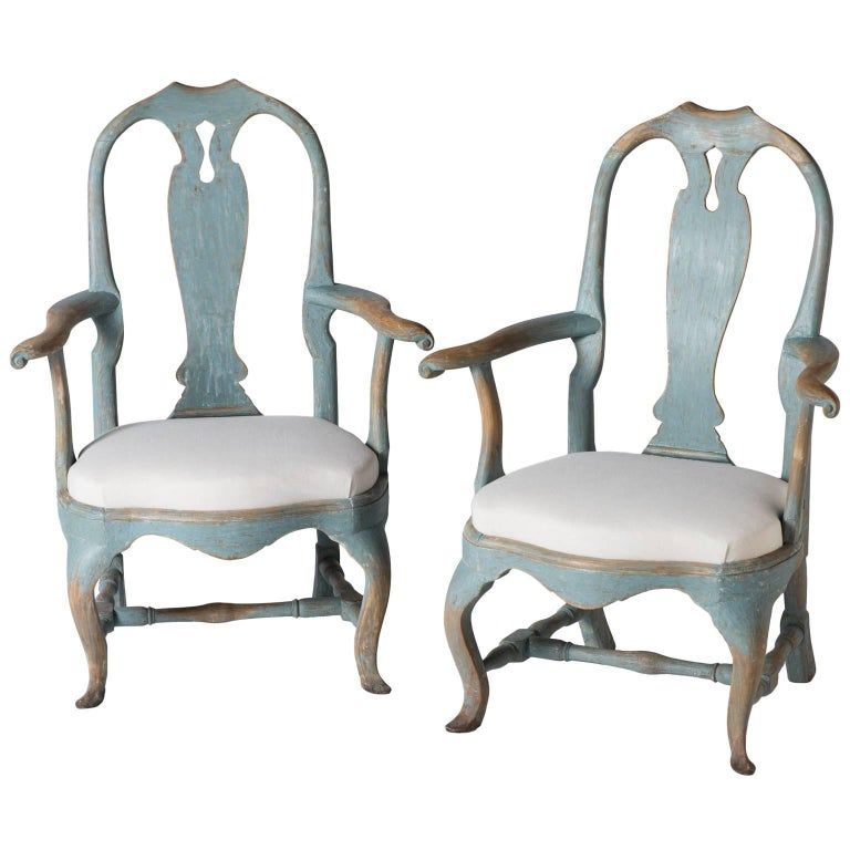 Pair of Swedish Rococo Period Armchairs, circa 1770 For Sale