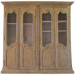 Large Four-Door Country French Style Armoire Cabinet