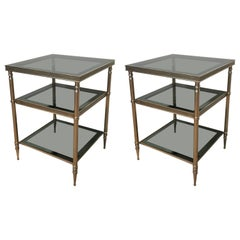 Pair of Silvered Brass Side Tables with Blue Grey Glass Shelves