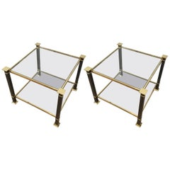 Pair of Brass and Black Lacquered End Tables with Clear Glass