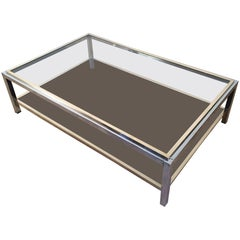 Large Chrome and Brass Coffee Table by Willy Rizzo