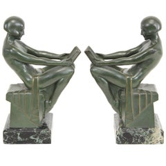 Signed French Art Deco Nude Bookends by Max Le Verrier, 1930