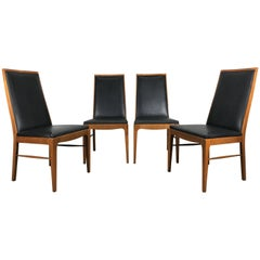 Set of Four Modernist Walnut Dining Chairs by Lane
