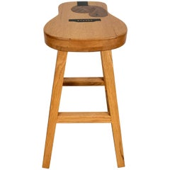 Hand Crafted Guitar Shape Inlaid Stool, Exotic Woods by Darrin S. Millard