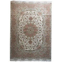 Persian Floral Medallion Hand-Knotted 60 Raj Tabriz Rug