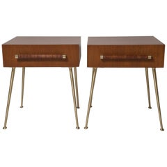Fully Restored End Tables or Nightstands by T.H. Robsjohn-Gibbings for Widdicomb