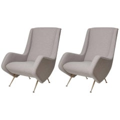 Pair of Fully Restored 1950s Zanuso Style Italian Lounge Chairs in Mohair Boucle