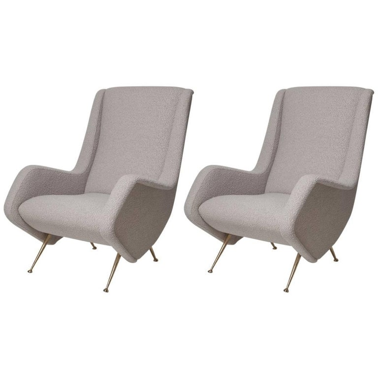Pair of Fully Restored 1950s Zanuso Style Italian Lounge Chairs in Mohair Boucle 1
