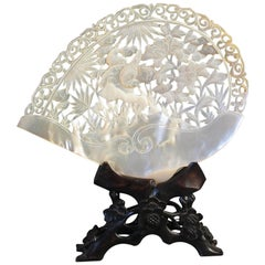 Chinese Export Carved Mother-of-Pearl Shell, 19th Century