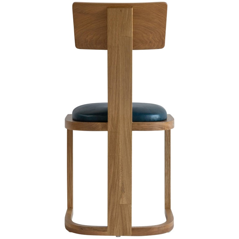 NK Collection T Side Dining Chair Upholstered in Teal Leather For Sale