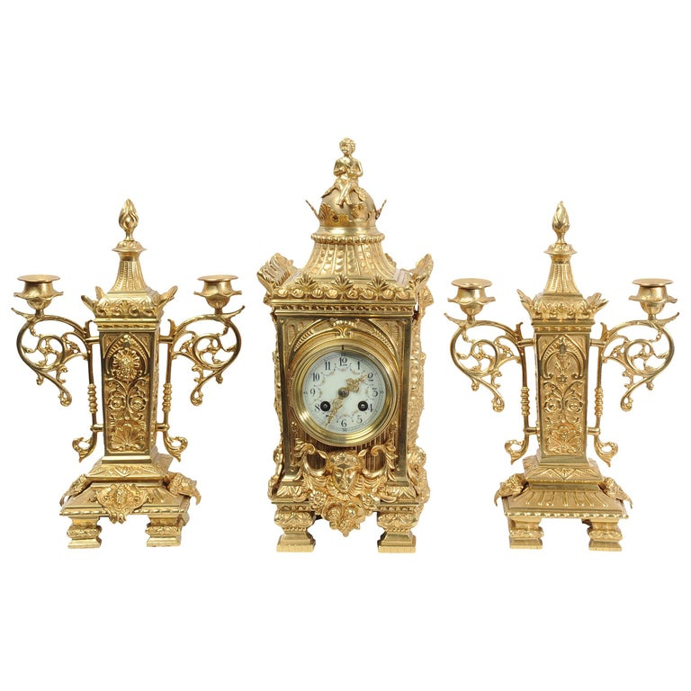 Japy Frères Louis XVI Gilt Brass Set