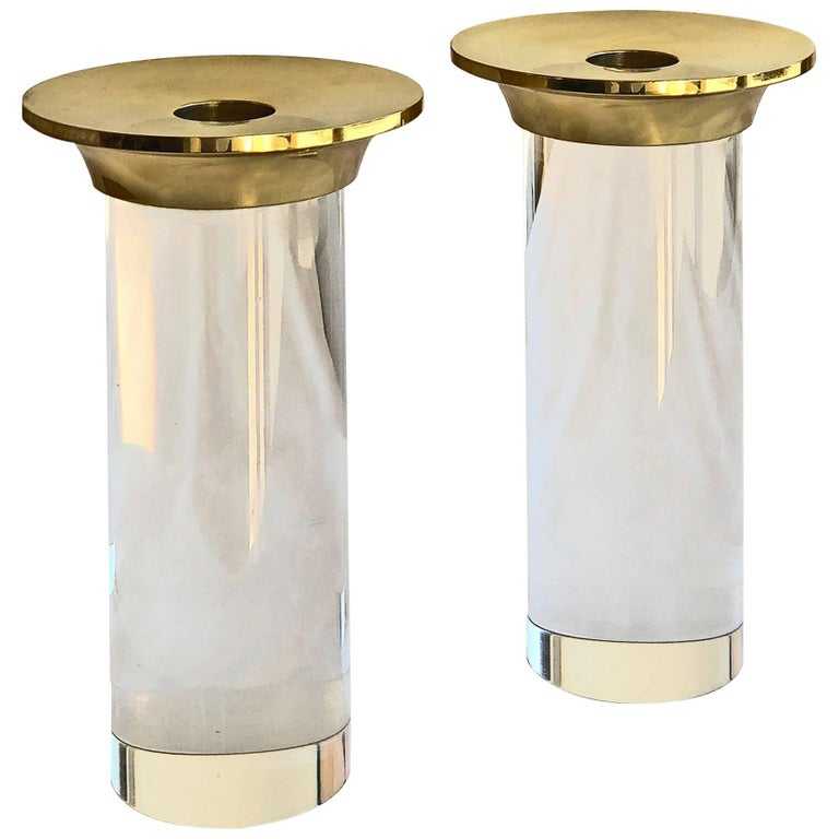 Candlesticks Lucite and Polished Brass