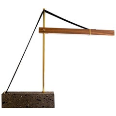 Grua Desk Lamp, Brass, Walnut, Quarry Handmade Fabrication by Nomade Atelier