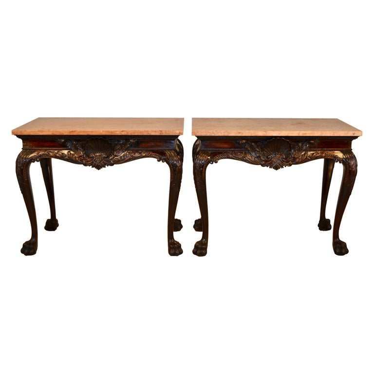 Pair of 19th Century Irish Marble-Top Consoles