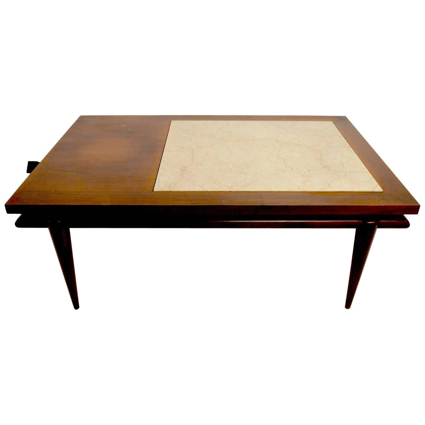 Marble-Top End Coffee Table by John Widdicomb