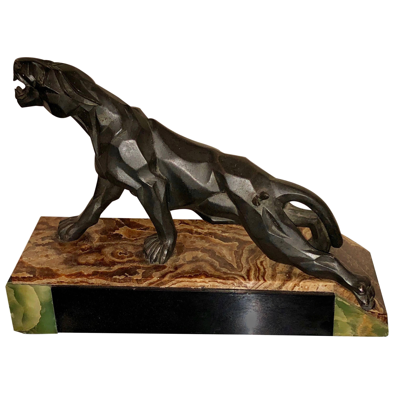 Notari Art Deco French Cubist Panther Sculpture