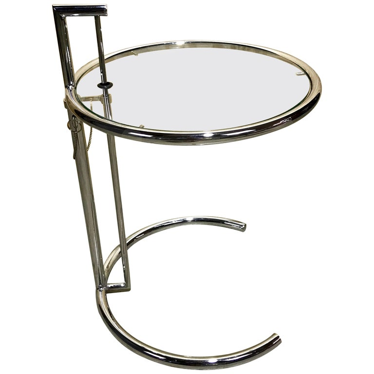 vintage eileen gray style e1027 chrome and glass adjustable side table for sale at 1stdibs. Black Bedroom Furniture Sets. Home Design Ideas