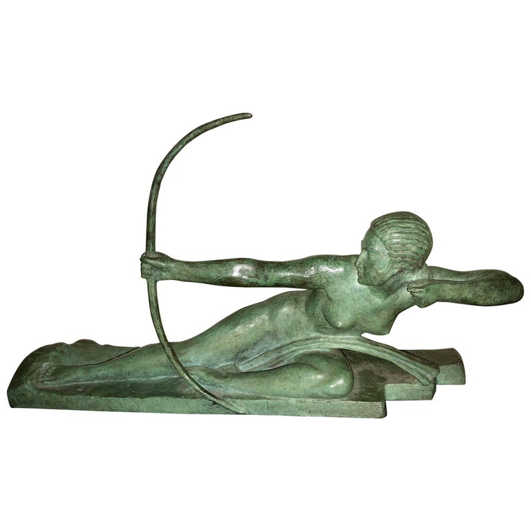 Art Deco Bronze Sculpture by Bouraine of Amazon Queen Penthesilea