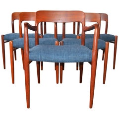 Danish Set of Six Dining Chairs by N.O. Moller for J.L. Moller in Teal Tweed