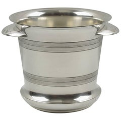 French Art Deco Modernist Silver Plate Champagne Bucket, Wine Cooler