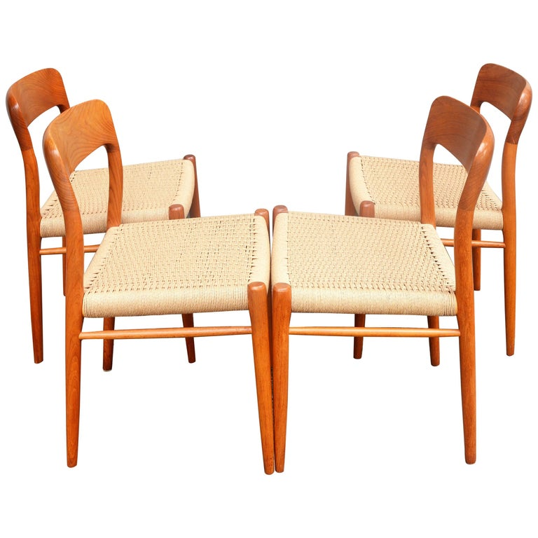 Set of Four Danish Teak Dining Chairs by N.O. Moller for J.L. Moller