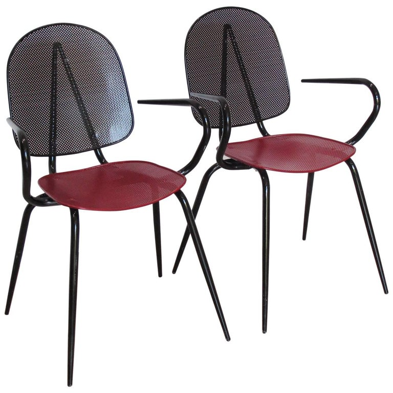 Manner of Mathieu Mategot Black and Red Perforated Metal Armchair - a pair
