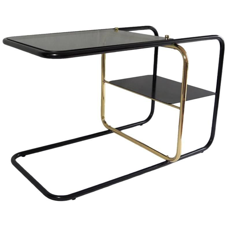 Lateral Side Table, Brass, Iron and Smoked Glass / Nomade Atelier Design
