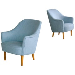 Pair of Carl Malmsten 1950s Lounge Chairs Model Samspel for O.H. Sjögren