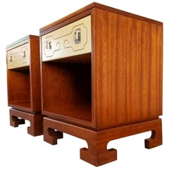 Lacquered Mahogany Nightstands or End Tables