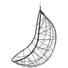 Nest Egg Hanging Swing Chair Steel Modern In/Outdoor 21st Century Black Twig
