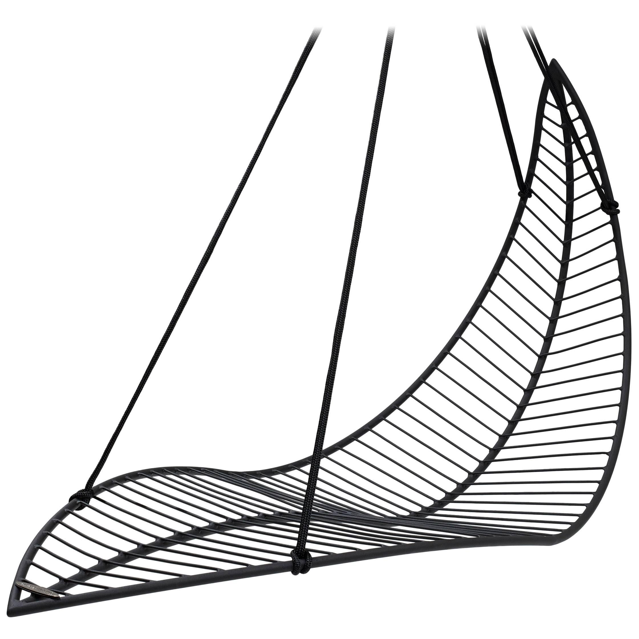 Leaf Hanging Swing Chair Modern Steel In/Outdoor 21st Century Black